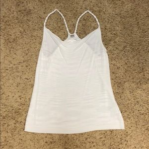 Knit white tank with beaded straps